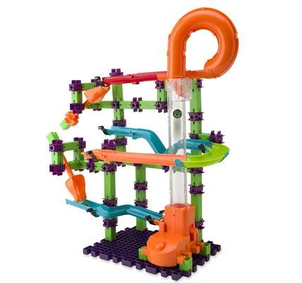 Marble run catapult toy