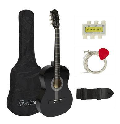 "38"" Black Acoustic Guitar Starter Package"