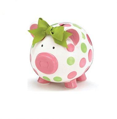 Girls Pink & Green Circles Pig Piggy Bank by Burton & Burton