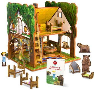 Goldilocks and the Three Bears Dollhouse and Storybook Playset