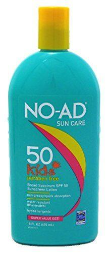 NO-AD Kids Gentle Sunscreen Lotion, SPF 50 16 oz