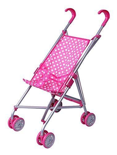 Precious Toys Pink & White Polka Dots Foldable Doll Stroller