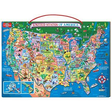 Wooden Magnetic Map of the USA Puzzle by T. S. Shure