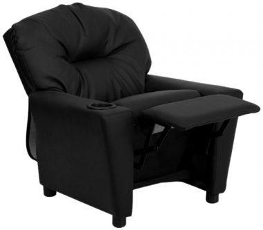 Flash Furniture BT-7950-KID-BK-LEA-GG Contemporary Black Leather Kids Recliner with Cup Holder  sc 1 st  My Kid Needs That : recliner chairs for toddlers - islam-shia.org