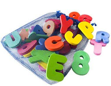 Freddie and Sebbie 36-Piece Bath Letters and Numbers with Toy Organizer
