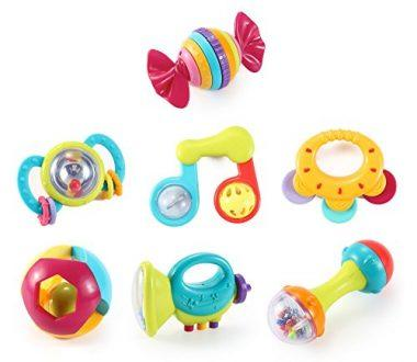 Music Party Fun 7 Piece Baby Rattle and Teether Toy Set