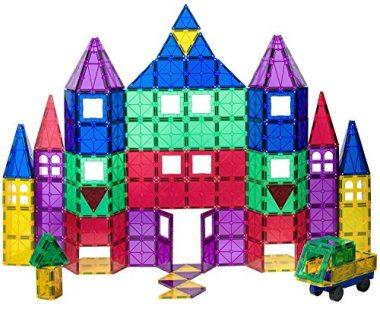 Playmags 100 + 18 Piece Clear Colors Magnetic Tiles Deluxe Building Set