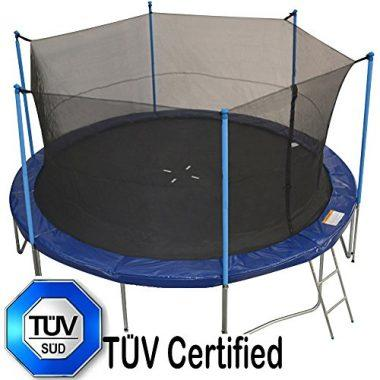 Zupapa 15 Ft TÜV Approved Trampoline with Pole and Enclosure net