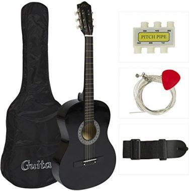"""38"""" Black Acoustic Guitar Starter Package by Best Choice Products"""