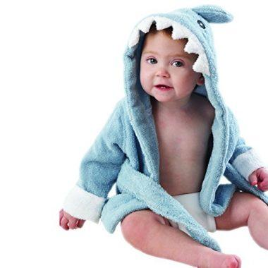 """Let the Fin Begin"" Blue Terry Shark Robe by Baby Aspen"