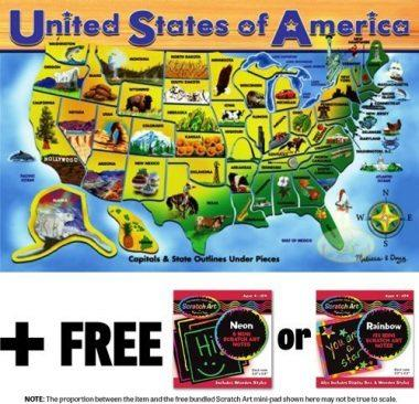 45-Piece Deluxe Wooden USA Map Puzzle by Melissa & Doug