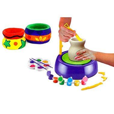 Educational Creative DIY Pottery Studio Artist Easy Spin Pottery Wheel Ceramic Machine for Kids by AMGLOBAL