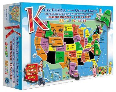 55-Piece Kids' Puzzle of the USA by A Broader View