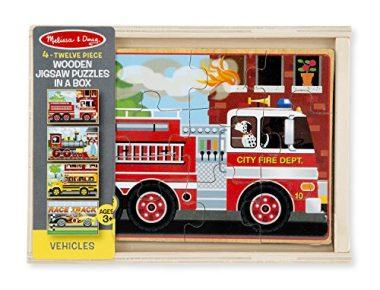 12-Piece Wooden Jigsaw Puzzles in a Box – Vehicles by Melissa & Doug