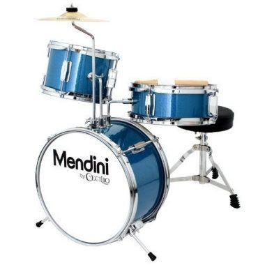 Mendini by Cecilio MJDS-1-BL 13 Inch 3-Piece Kids / Junior Drum Set with Adjustable Throne, Cymbal, Pedal & Drumsticks