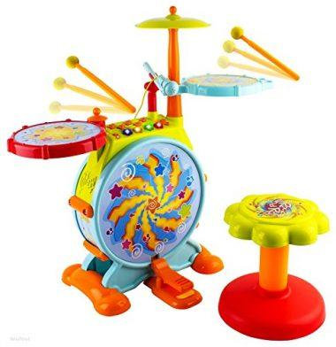 WolVol Electric Big Toy Drum Set for Kids with Movable Microphone and Chair
