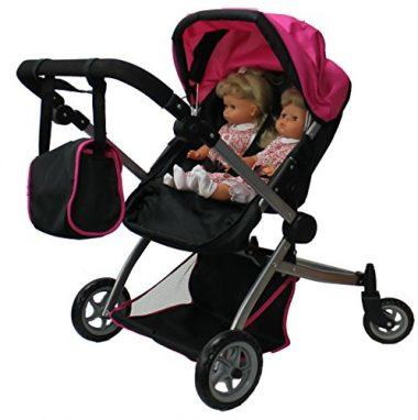 Babyboo Deluxe Twin Doll Pram / Stroller 9651A by Mommy & Me Doll Collection