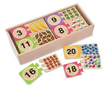 Self-Correcting Wooden Number Puzzles With Storage Box by Melissa & Doug