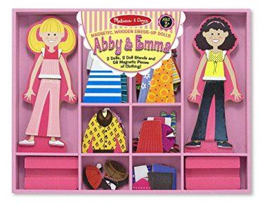 Abby and Emma Deluxe Magnetic Wooden Dress-Up Dolls Play Set by Melissa & Doug