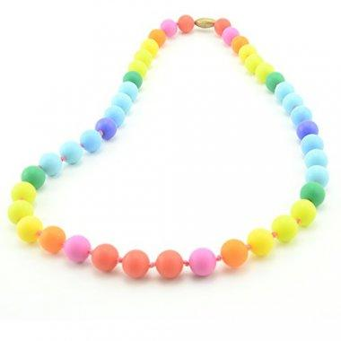 Rainbow Silicone Teething Nursing Necklace for Mom & Baby