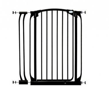 Simple, pressure-mounted gate, in black, that can also double as a hardware-mounted gate.