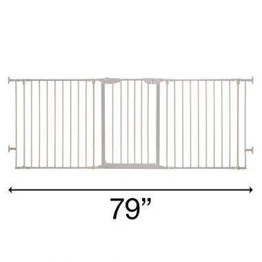 Gate by Dreambaby, in White, that can reach up to 79 inches.