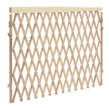 An extendable, wooden gate with a swing mechanism for easy use.