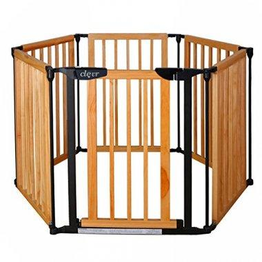 Wooden gate that acts as a free-standing play area for small children.