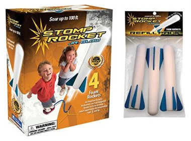 The Original Stomp Rocket Jr. Glow with Refill Pack, 7 Rockets
