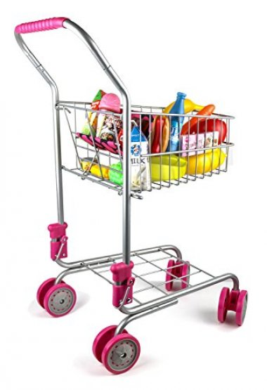 Precious Toys Pretend Shopping Cart with Groceries