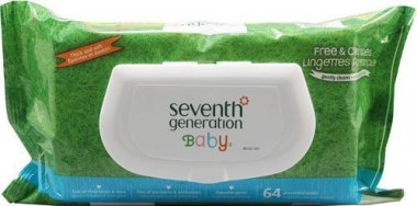Seventh Generation Free & Clear Baby Wipes 64 count packs (pack of 6)