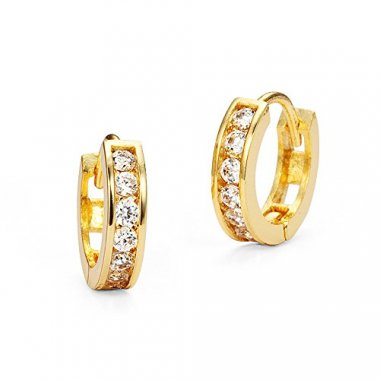 14k Gold Plated Brass Baby Channel Huggy Earrings