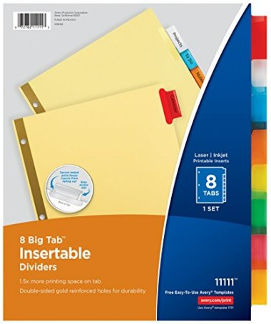 Avery Big Tab Insertable Dividers Pack of 48 Sets