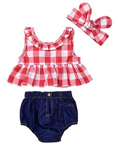 Baby Girls Plaid Ruffle Bowknot Tank Top+Denim Shorts
