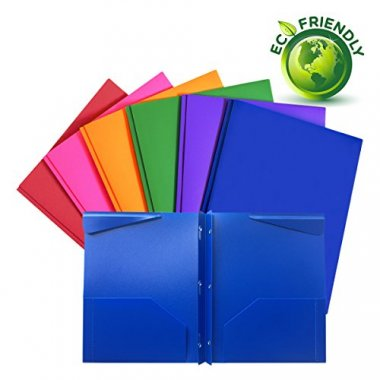 Plastic folders with pockets and prongs 6 Pack