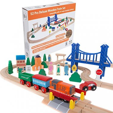Orbrium Toys 52 Pcs Deluxe Wooden Train Set