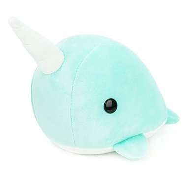 Bellzi Teal Narwhal Stuffed Animal Plush Toy