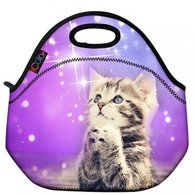 Cute Cat Girls Insulated Neoprene Lunch Bag