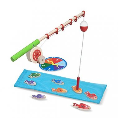 Catch & Count Wooden Fishing Game With 2 Magnetic Rods