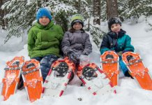 Walking in snowshoes is good exercise and will enable your child to walk on top of the surface of the snow, rather than sinking in, which can tire them out faster. And after you have bundled them up in all their snow clothes, you want them to play outside as long as possible!