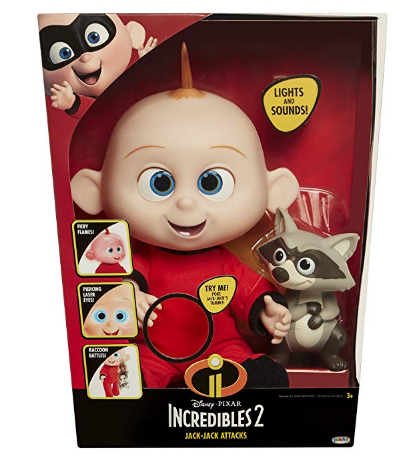 The Incredibles 2 Jack-Jack Plush-Figure comes in a box.