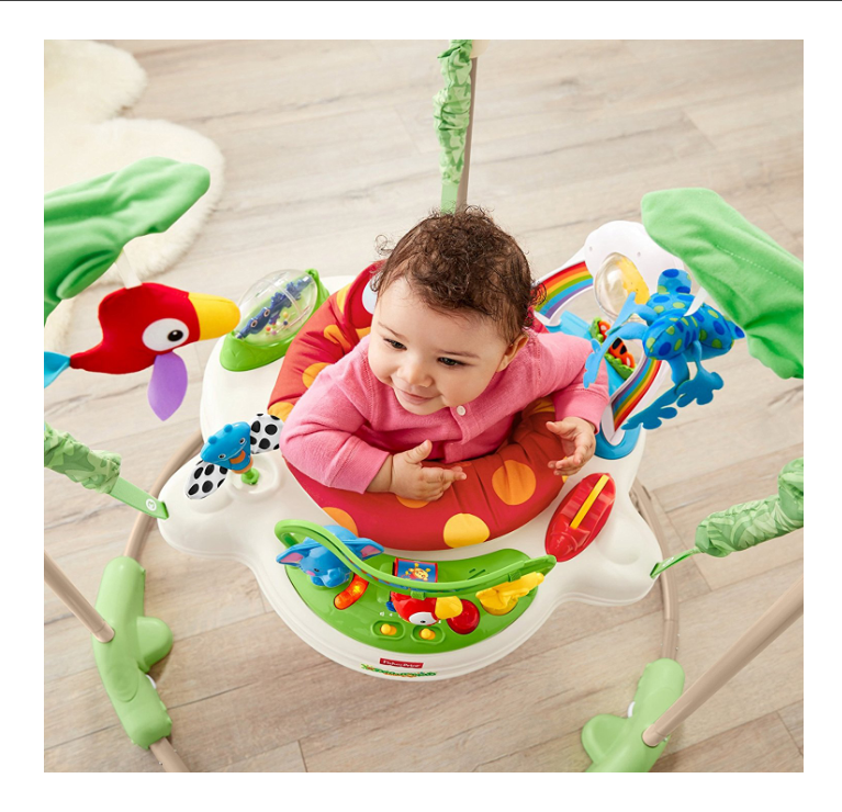 Baby playing with Fisher-Price Rainforest Jumperoo