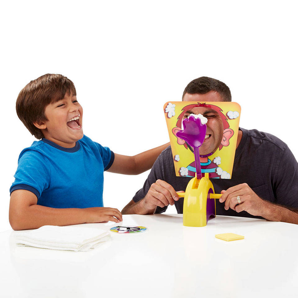 The one who scores 25 points on the Pie Face Game by Hasbro wins.