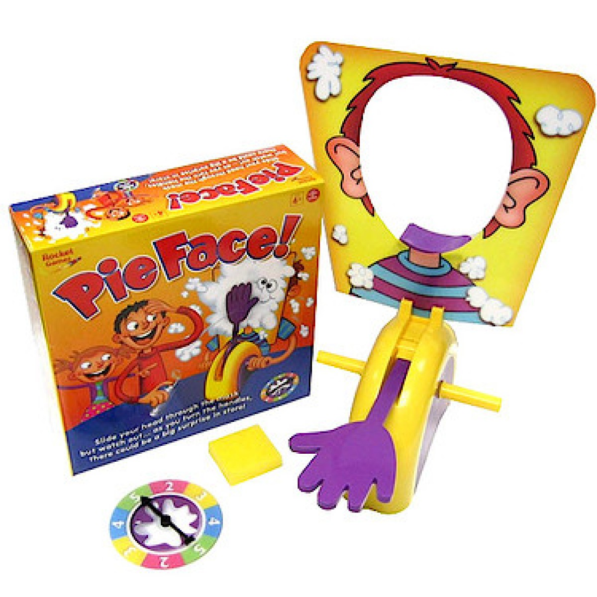 The Pie Face Game by Hasbro features a lot of accessories.