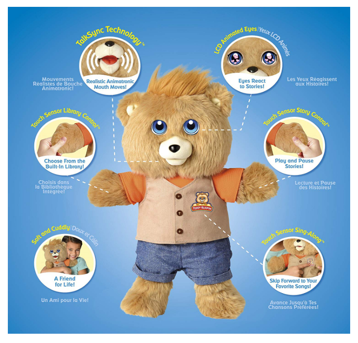 Teddy Ruxpin features stories and songs.