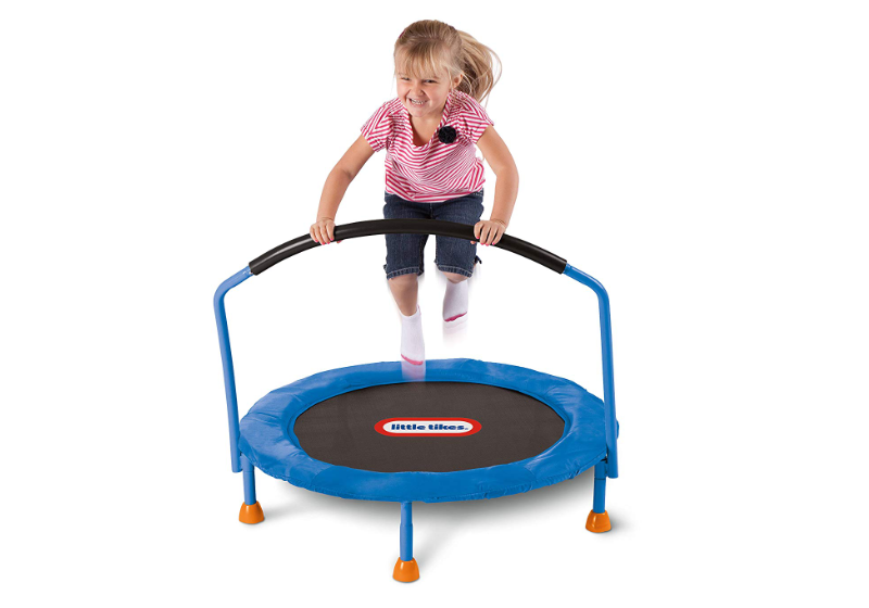 Jumping on the Little Tikes Trampoline