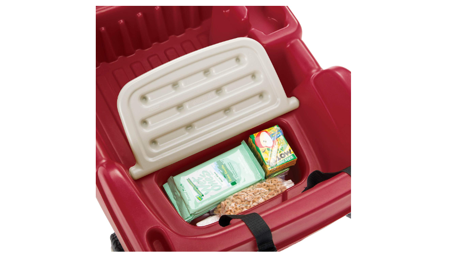 The Step2 Canopy Wagon features a built-in storage compartment.