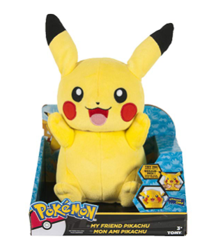 The TOMY Pokémon My Friend Pikachu is soft and cuddly.