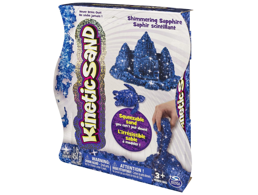 The Kinetic Sand Blue Sapphire Shimmer Sand is squeezable.