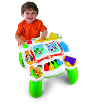 LeapFrog Learn & Groove Musical Table has attachable legs which makes it easy for traveling.